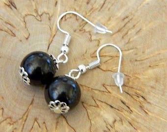 SHUNGITE EARRINGS 12mm beads,EMF protection, Magic aura stone from Karelia