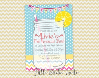 Pink Lemonade Birthday Party Invitation, Lemonade Stand Invitation, Printable Invitation, Digital Invitation, Custom Invitation