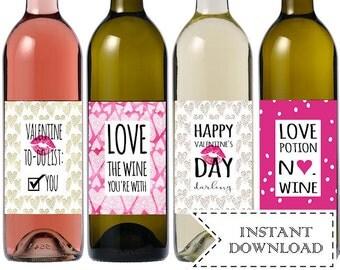 Instant Download Valentines Day Wine Bottle Labels, Printable Funny Valentine Wine Labels, Valentines Day Gift for Him, Galentines Day Gift