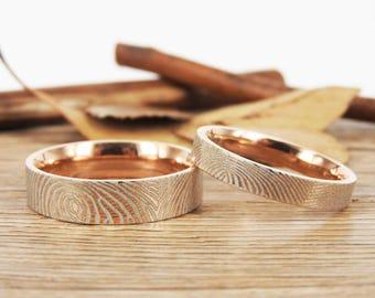 Custom Fingerprint Rings, Couple Matching Ring, Unique Rose Gold Groom&Bride Wedding Rings Set