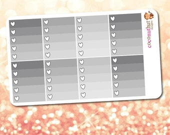 Black & Gray Neutral Ombre Heart Checklist Planner Stickers (2017 Vertical Erin Condren Life Planner)