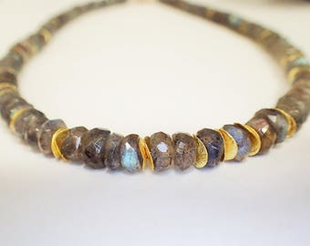Labradorite necklace silver gold plated