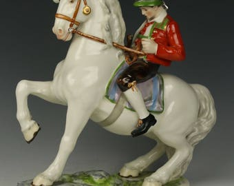 "Dresden Volkstedt figurine ""Bavarian Man on Horse"""
