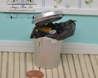1:12 Dollhouse Miniature Sliver Garbage Filled Can/ Miniature Trash Can AZ G8187
