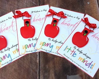 Apple keychain.Gift for Teachers.Keychain.