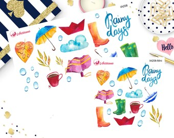 Rain Stickers - Rainy Days - Planner Stickers - Happy Planner - ECLP  - Weather Stickers - Umbrella - Rubber Boots