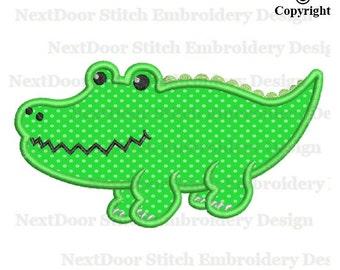Alligator embroidery applique design, lil crocodile machine embroidery,  croco-001
