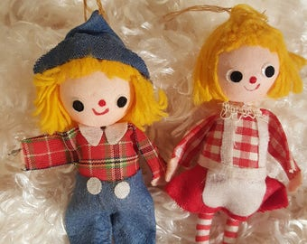Girl and Boy Holiday Christmas Felt Ornaments With Checker and Plaid Outfits and Blonde Hair From Japan 1960's