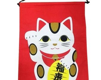 Maneki Neko Japanese Fortune Cat Noren Tapestry Flag Believed Bring Good Luck To Owner