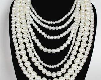 Layered Necklace, Pearl Necklace, Layered Pearl Necklace, Multi Strand, Multi Strand Pearl Necklace, Wedding Necklace, Long Pearl Necklace
