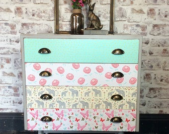 Sold. Mid century vintage retro chest of drawers hand painted with decoupage