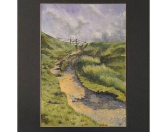 Original Watercolour 'The Path Across The Moors'