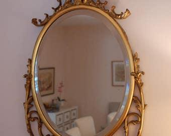 Wood Gilt Gold Wall Mirror Oval