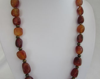 Natural Carnelian Chunky bead Necklace