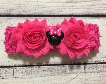 Minnie Mouse Baby Headband ~Baby Headband ~Shabby Chic Headband ~Toddlers Headband~Hot Pink Minnie Mouse Headband ~Minnie Mouse Headband