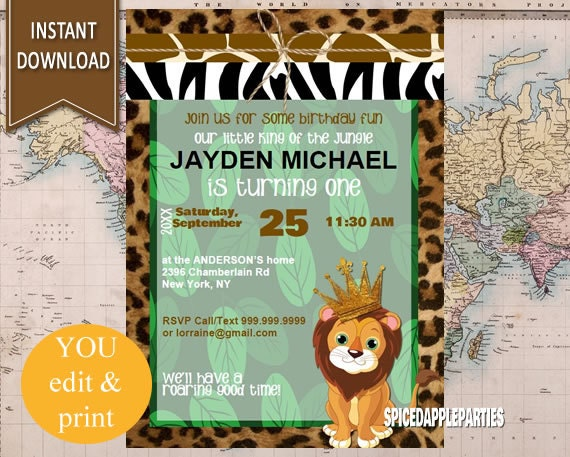 First BirthdayJungle Birthday Lion King Party King of the Jungle