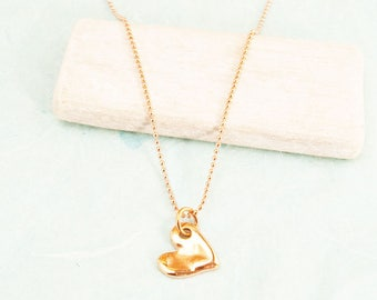 """necklace ballchain 31,5"""" with heart rosegold plated #4228"""