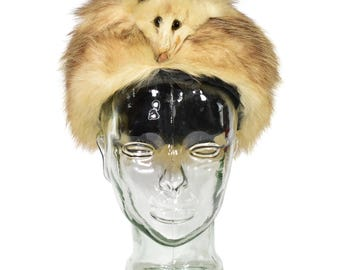 1940's Vintage Women's XS 6 3/4 Opossum Head & Pelt Fur Pillbox Hat Russian MINT
