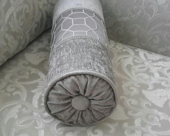 Decorative Bolster Pillow Black : Elegant Gray Velvet Decorative Bolster Pillow Size 17 in x
