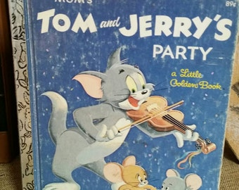 "Little Golden Book/""Tom and Jerry's Party""/Collectible Children's Book/Retro Cartoons/Tom Cat/Jerry Mouse/Nursery/Kid's Room Decor/1980s"