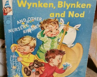 Wynken, Blynken and Nod And Other Nursery Rhymes/Vintage 1956 Rand McNally Elf Book/Collectible/Nursery/Baby Shower Decor