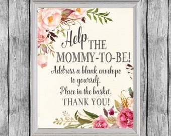 Baby Shower Address An Envelope Sign. Baby Shower Addressee Sign.  Address An Envelope. Instant Download. Address Envelope Station.