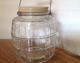 Glass Barrel Jar with Handle