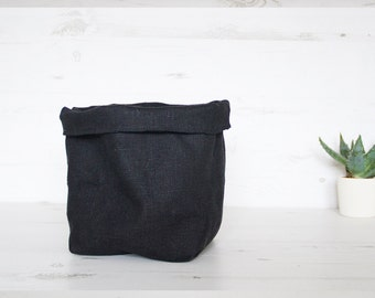 Black Fabric Storage basket, eco-friendly linen kitchen bread basket