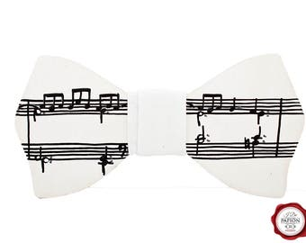 SALE Wood bow tie wooden bow tie painted bow tie music sheet bow tie gift for him gift for her white bow tie unique bow tie