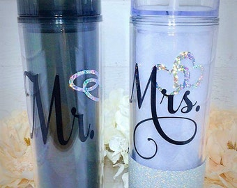 Mr and Mrs tumblers, Wedding gift, Mr and Mrs Gift, His and Hers, Shower Gift, Engagement Gift, Mr and Mrs, Honeymoon Gift, Personalized