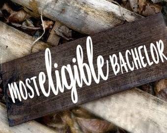 most eligible bachelor ring bearer sign, wedding sign, ring bearer sign, custom ring bearer wedding sign, custom quote wedding sign