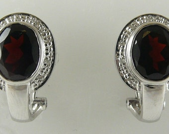 Garnet Earring 5.80ct 14k White Gold with Diamonds 0.09ct
