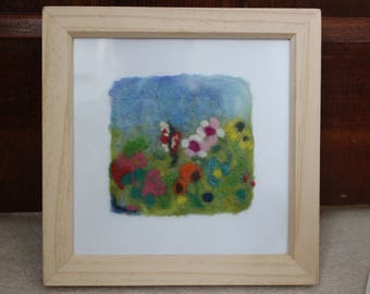 Wet-Felted Picture Of A Meadow with Wild Flowers