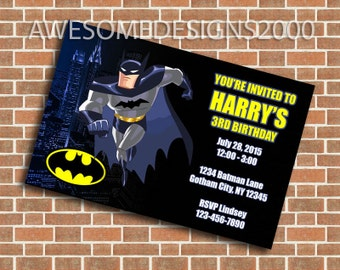Batman Invitations - Birthday Party Invite - Printable & Shipped