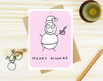 Funny Gin card - Christmas Pun card - Gin - Card for Gin Lover - Funny Christmas Gin Card - Funny Xmas cards - Gin Gift - Adult card -