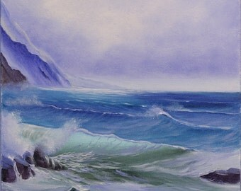 Coastal Landscape, Ocean Waves Painting, Beach Painting, Realism, Original Oil Painting, Ocean Wave, Seascape, Ocean Scene, Water Fine Art