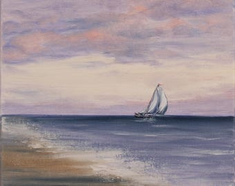 Sailboat Painting, Seascape, Ship Painting, Yacht Art, Purple Coastal Landscape, Original Small Oil Painting on Canvas, Sunset Sail