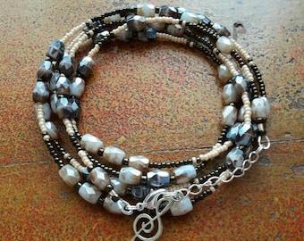 Boho bracelet beige, ivory, metallic Brown, long multi strand bracelet, earrings