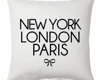 New York, London, Paris - White Cushion Cover