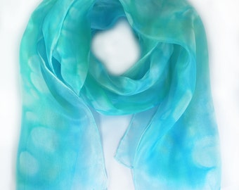 Turquoise blue silk scarf, turquoise scarf, mother's day gift, valentines gift, silk anniversary gift, 12th anniversary, gifts for mum