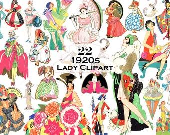 Art Deco Clipart Vintage Clipart Drawings Vintage 1920s Illustrations Instant Digital Download