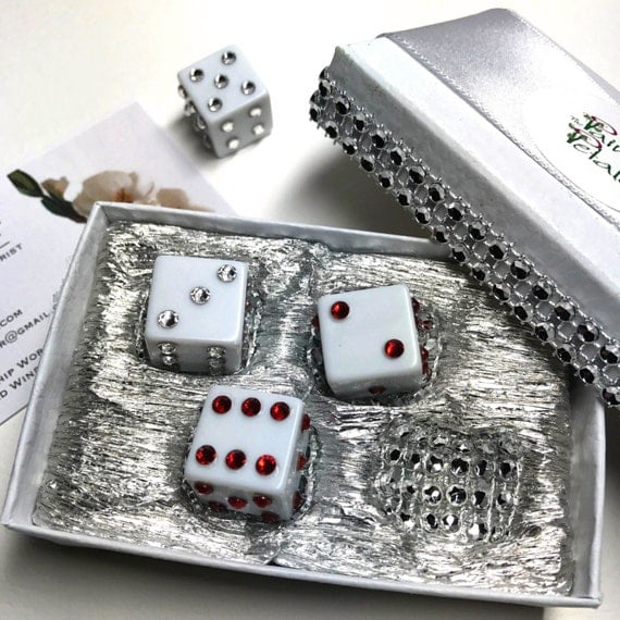 Swarovski Crystal Dice - Crystal Dice Set of 4 - Rhinestone Dice - Casino Party Decor -  Decorative Dice - Bling Dice