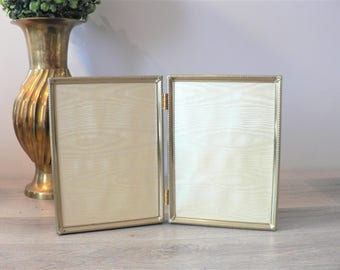 Vintage 5 x 7 Embossed Gold Metal  Bi-Fold Photo  Frame - Photo Frame Duo