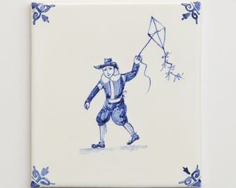 Hand made and hand painted tile, Design: children games, fly a kite