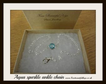 Aqua sparkle ankle chain Anklet