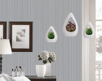 White Ceramic Hanging Planter, Tabletop Vase, Air Plant Succulent Planters Holders, Indoor House Decor, Decorate Your Apartment