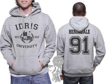Herondale 91 Idris University print on Unisex pullover Hoodie Light Steel