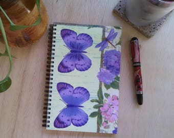 Writing Journal; FREE SHIPPING; Wire Bound Spiral Notebook; Lined Paper; Butterfly Collaged Cover; Unique Gift ; One of a kind Diary
