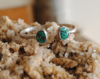 Double Turquoise Stone Cuff   Sterling Silver