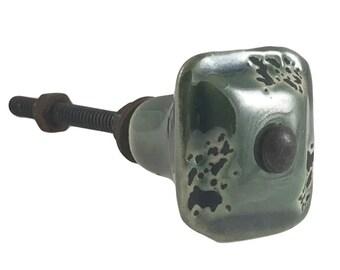 Green Square Metal Rustic Decorative Dresser Drawer, Cabinet or Door Knob Pull - M20g